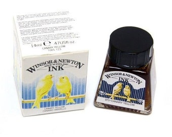 Winsor Newton CANARY YELLOW Drawing Calligraphy INK - Dip & Feather Quill Pens