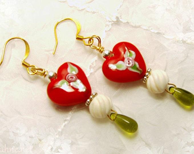 SWEETHEARTS Loving Hearts Lampwork Earrings