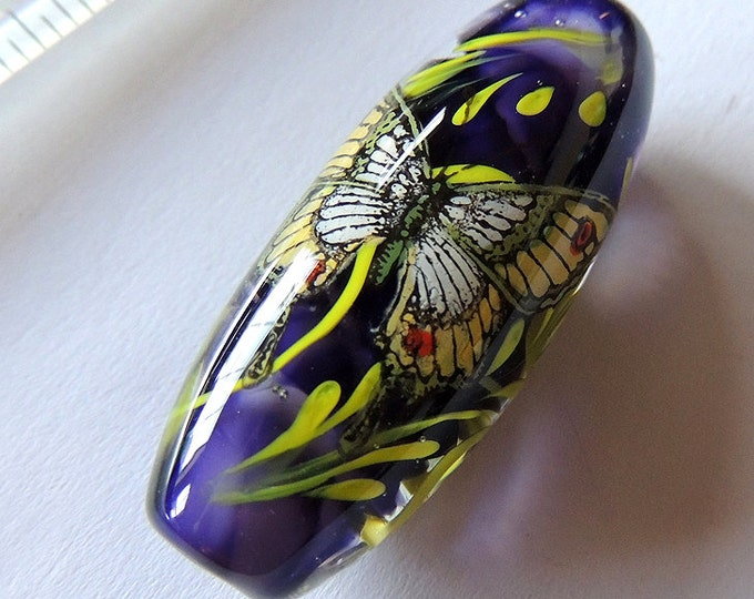 Gorgeous Fused Glass BUTTERFLY Painted Lampwork Bead Focal Pendant OOAK