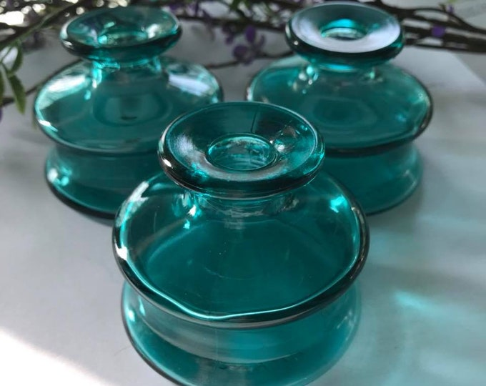 Vintage Dansk Turquoise Glass Inkwell - Ink Pot - Made in France