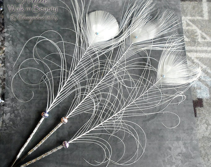 WALK IN BEAUTY Peacock Feather Quill Pen - Silver White