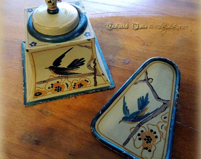 Unusual VINTAGE Hand-painted FOLKART Ink Well & Clip Set - Art Deco