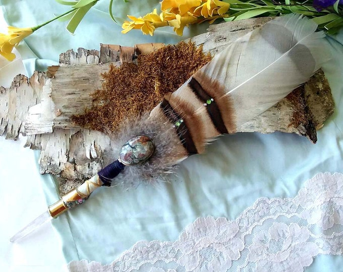 SINGING LEMURIAN Prayer Feather Smudge Fan Wand