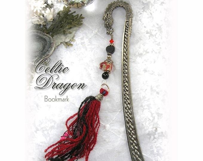 CELTIC DRAGON Lampwork & Pewter Bookmark ... Crimson Red