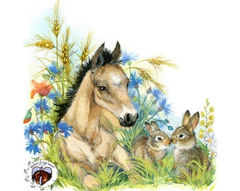 Buckskin Foal and Bunnies HAND DETAILED Watercolor & Acrylic Art Print - Heart of the Wild Senior Horse Sanctuary