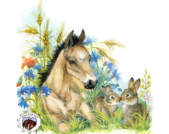 Buckskin Foal and Bunnies HAND DETAILED Watercolor & Acrylic Art Print - Heart of the Wild Senior Horse Sanctuary