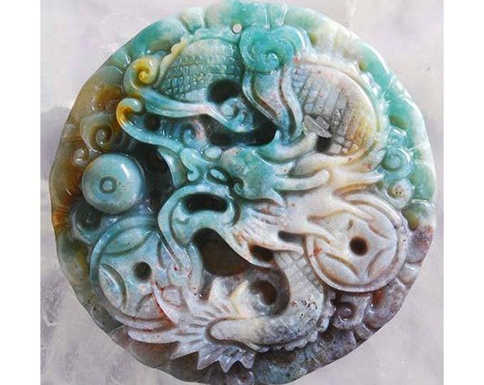 GORGEOUS Carved Dragon & Phoenix Gemstone Pendant Bead - 49x7mm