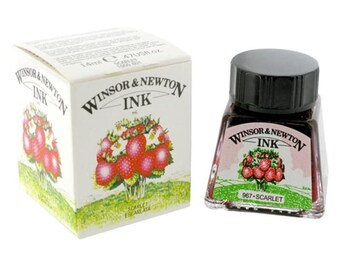 Winsor Newton SCARLET Drawing Calligraphy INK - Dip & Feather Quill Pens
