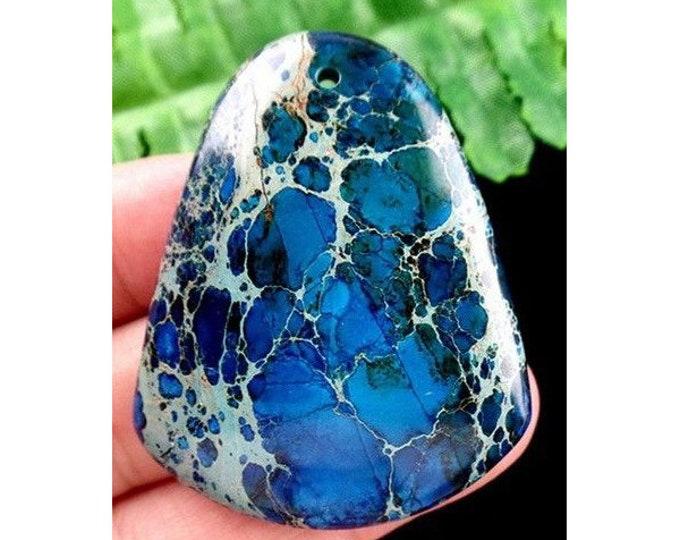 Natural Organic Sea Sediment Jasper Pendant Bead 38x47x5 mm