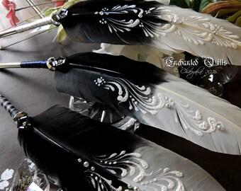 BLACK & WHITE TUXEDO Formal Wedding Feather Dip Pen - 3 Designs