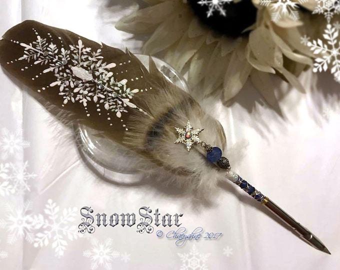SNOWSTAR Winter Snow Artisan Feather Quill DIP Pen