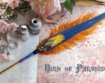 BIRD of PARADISE Macaw Feather Quill Pen