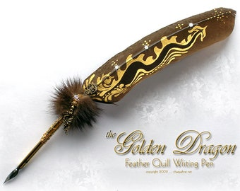 The GOLDEN DRAGON Feather Quill Pen