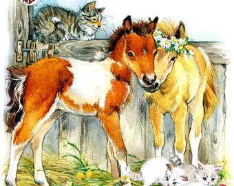 Kittens and Foals Watercolor & Acrylic Art Print - Heart of the Wild Senior Horse Sanctuary