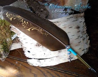 The CHRISTIAN SCRIBE Cross Feather Quill Dip Pen - SALE
