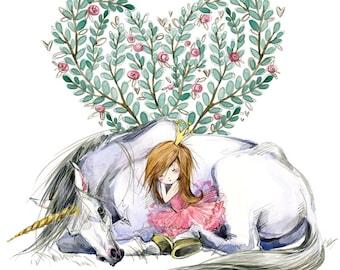 UNICORN HEART Watercolor Art Print - Heart of the Wild Senior Horse Sanctuary