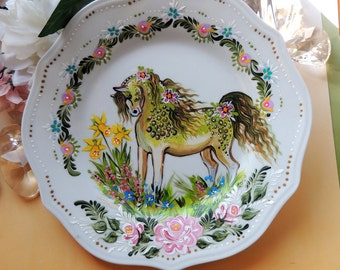 FLORAL Folk Art PONY Collectors Plate - 100% Hand Painted