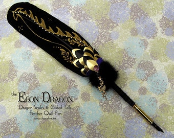 The EBON DRAGON Beastly Feather Quill Pen - Game of Thrones DROGON