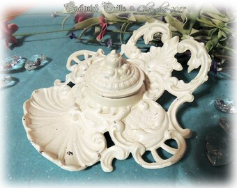 Gorgeous Early American Rococo Style Cast Iron ANTIQUE WHITE Ink Well