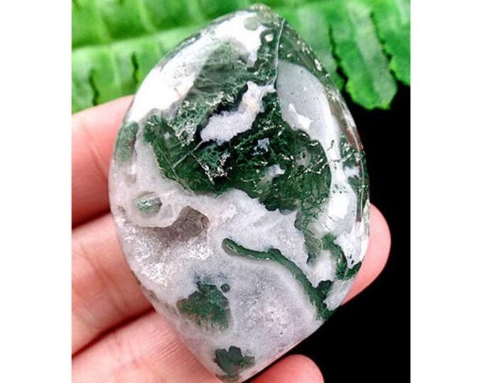 Gorgeous Natural Organic Teardrop Moss Agate Pendant Bead 55x38x10mm - Druzy