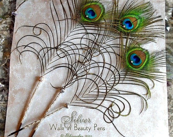 WALK IN BEAUTY Peacock Feather Quill Pen - Silver Lace