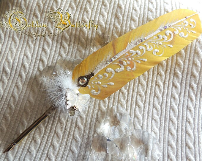 SALE The Golden Butterfly Happiness & Light Artisan Feather Quill DIP Pen