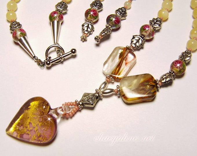 ROSEY HEART Venetian Lampwork and Calcite Necklace & Earring Set