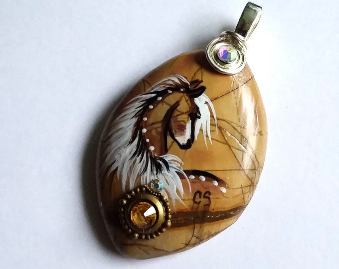 Picasso Stone PALOMINO SPIRIT HORSE Pendant & Necklace - Folk Art Ponies