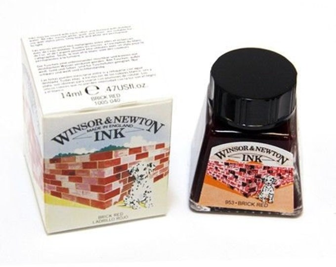 Winsor Newton BRICK RED Drawing Calligraphy INK - Dip & Feather Quill Pens