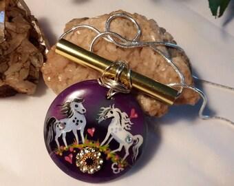 Golden Bar Banded Agate SPIRIT HORSE Pendant & Necklace - Folk Art Ponies