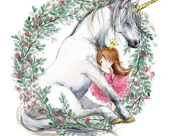 UNICORN HUG Watercolor Art Print - Heart of the Wild Senior Horse Sanctuary
