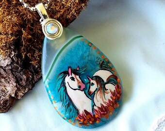 Mare and Foal Geode Agate SPIRIT HORSE Pendant & Necklace - Folk Art Ponies