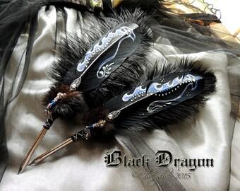 The BLACK DRAGON Feather Quill Pen GOT Drogon