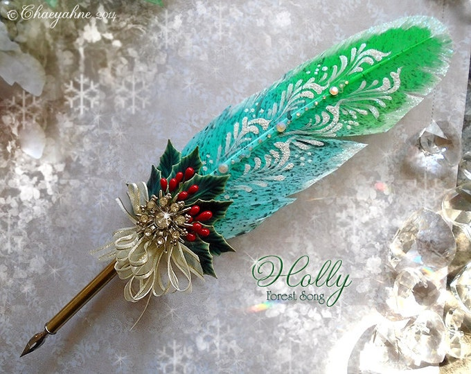 HOLLY Forest Song Holiday Feather Quill Pen & Writing Set