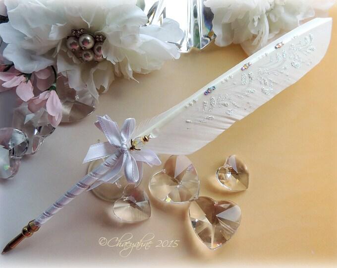 GOLDEN ATHENA Artisan Crafted Ballpoint Wedding Pen - Satin Crystals & gold