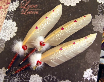 LOVE LETTERS 2012 Original Series Lovely Valentine Wedding Feather Quill Pen