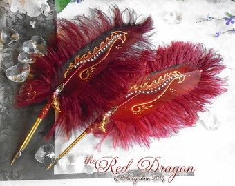 The RED DRAGON Artisan Crafted Feather Quill Pen
