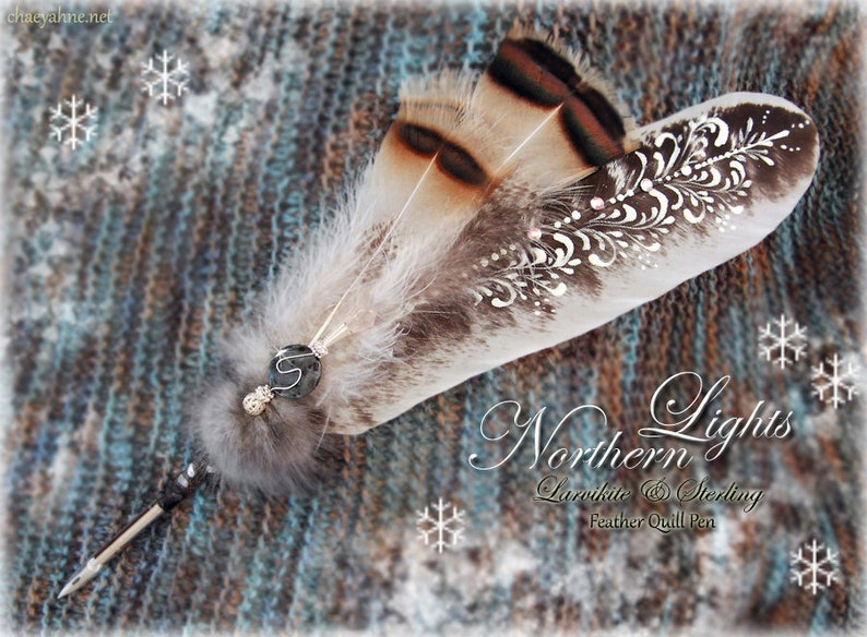 NORTHERN LIGHTS Rare Larvikite /& Sterling Feather Quill Dip Pen