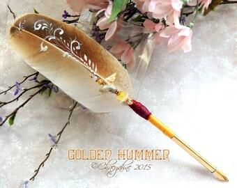 GOLDEN HUMMER Hummingbird Artisan Crafted Feather Quill Pen
