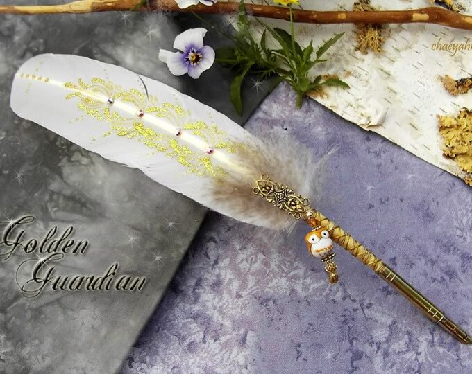 GOLDEN GUARDIAN Owl Artisan Crafted Totem Feather Quill Dip Pen