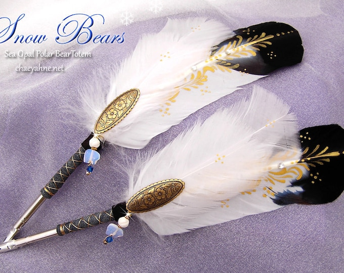 SNOW BEAR Sea Opal Artisan Crafted TOTEM Feather Quill Pen