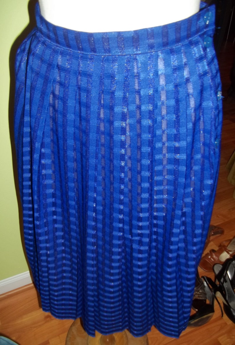FUNKY 1980/'s St Michael Electric Blue Skirt Fit for a Fashionista