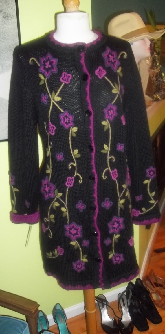 EXQUISITE Victor Costa Colorful EMBROIDERED Knit S
