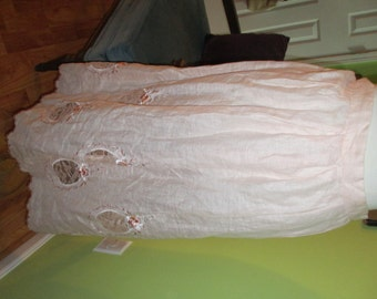 Romantic Flirty and Dreamy Baby Pink Linen Embellished Scalloped Hemline Skirt