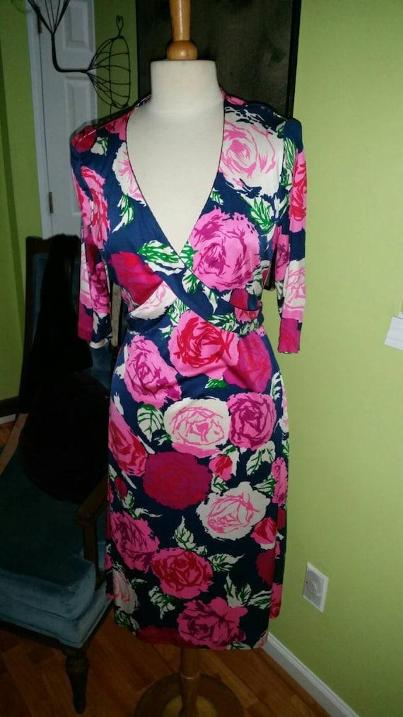 Elegant Floral Print Flora Kung Silk Jersey Knit D