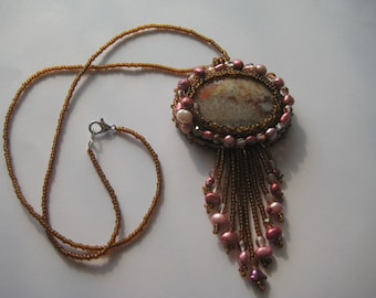 Beaded Necklace in Browns and Pinks