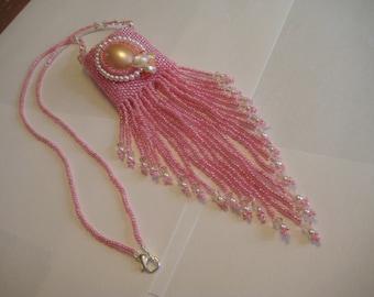 Necklace, Hand beaded Amulet Bag, Medicine Bag, Wish Bag