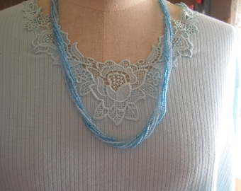 Necklace, Multi strand beaded in blues