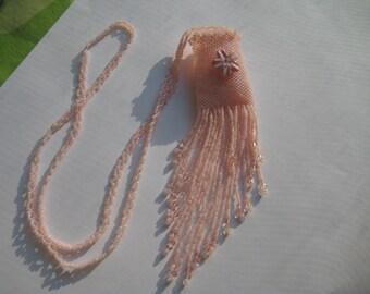 Necklace, hand beaded Amulet Bag,Wish Bag,Medicine Bag
