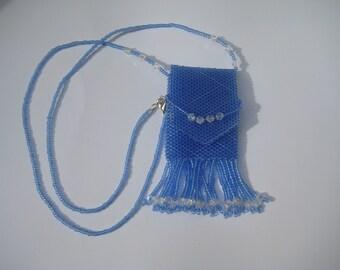 Necklace, Amulet Bag,Medicine Bag,Wish Bag, handbeaded in Blue